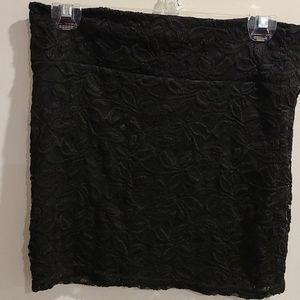 Qed London black lace pull on mini skirt